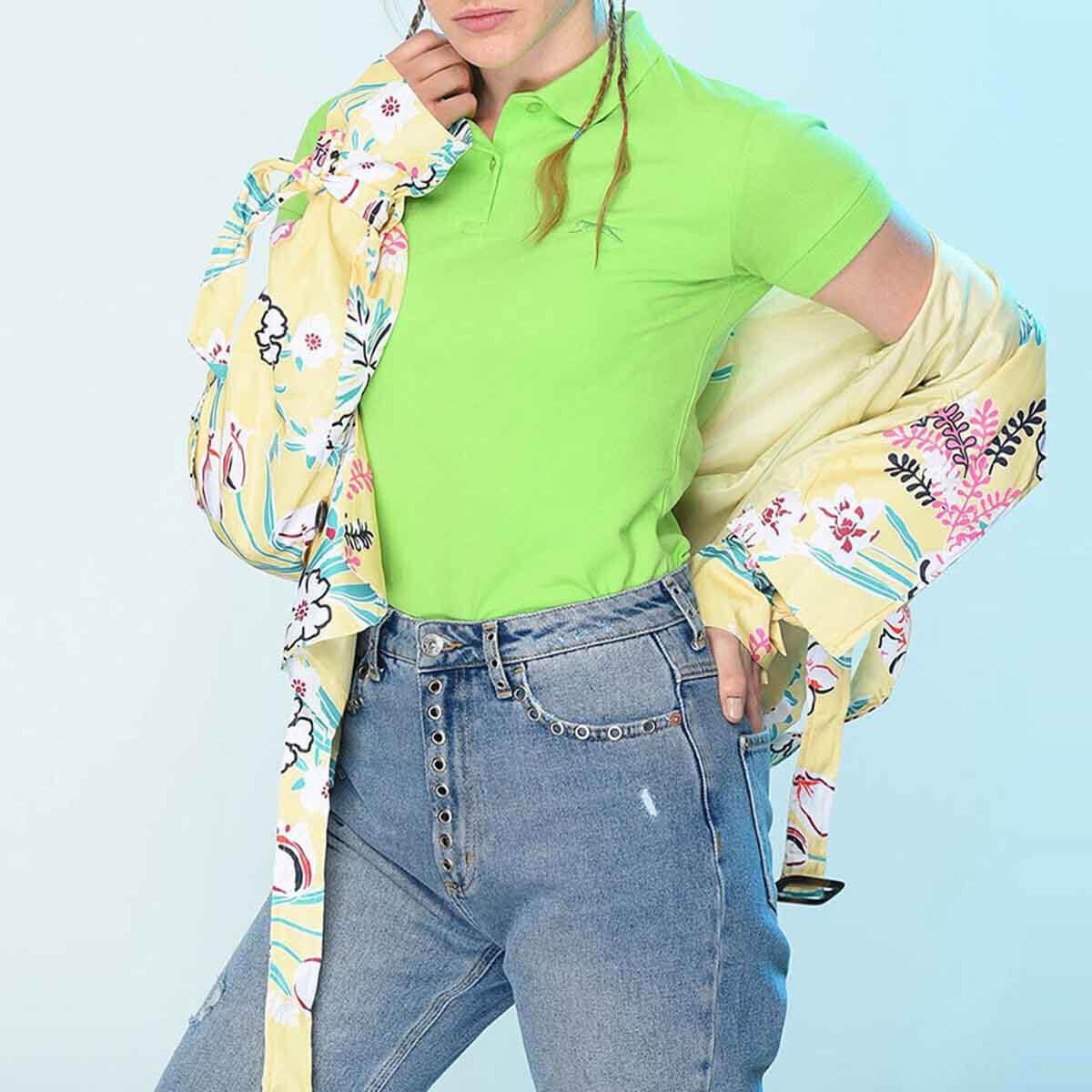 Yeşil Kadın Kısa Kol T-Shirt ST18TK011-888