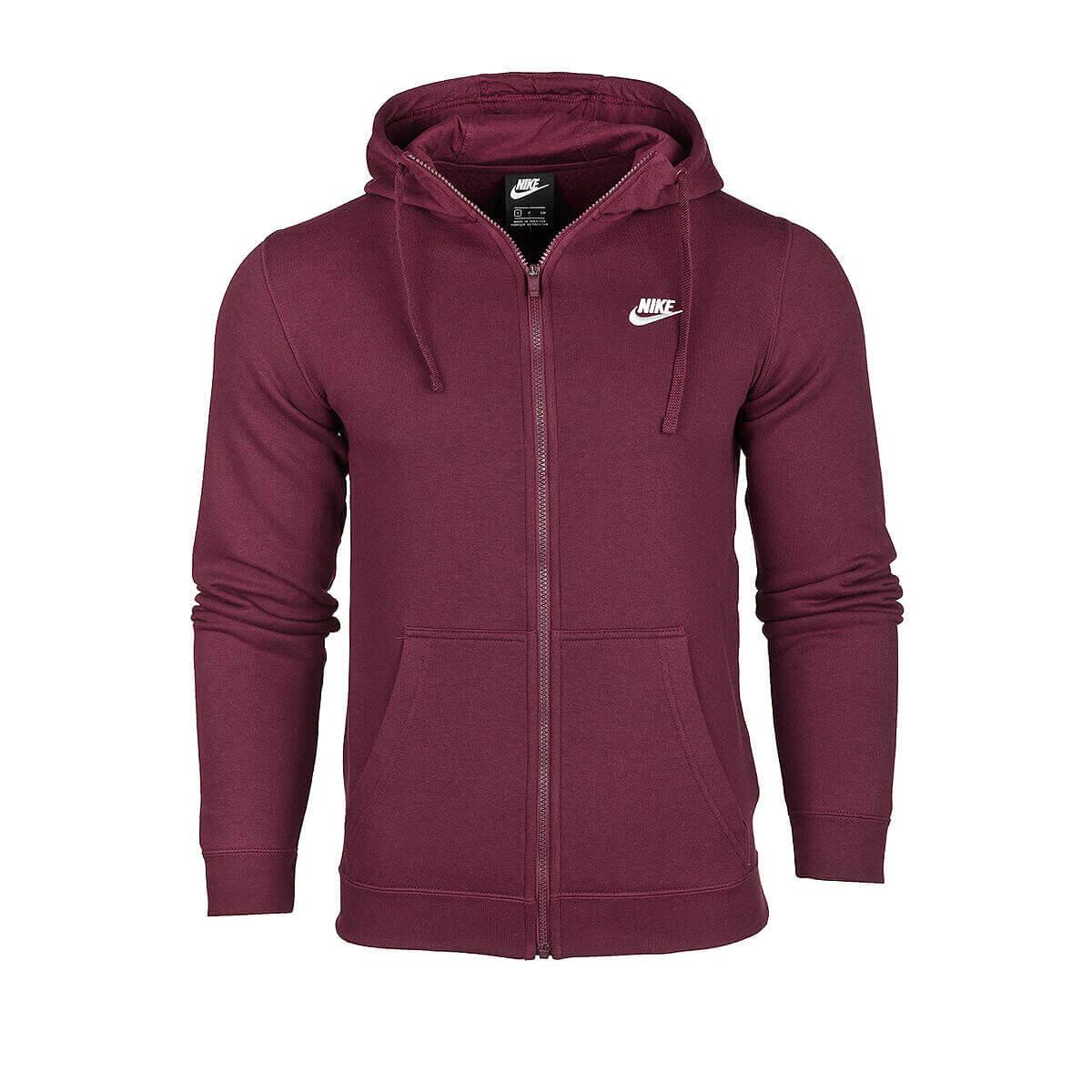 BORDO Erkek Sweatshirt M NSW CLUB HOODIE FZ BB