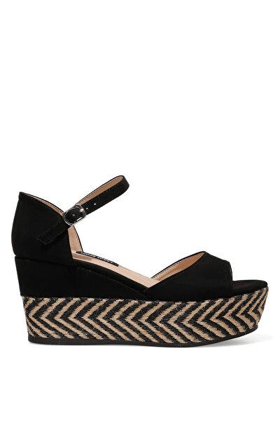 Nine West TRUDELL 1FX Siyah Kadın Dolgu Topuk Sandalet