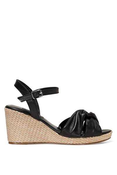 Nine West CARETTE 1FX Siyah Kadın Dolgu Topuk Sandalet