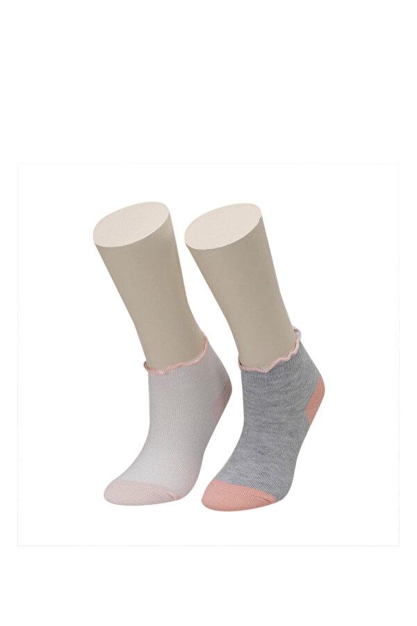 I Cool FIRFIR 2 LI PTK-G GRI MULTI Kız Çocuk Çorap