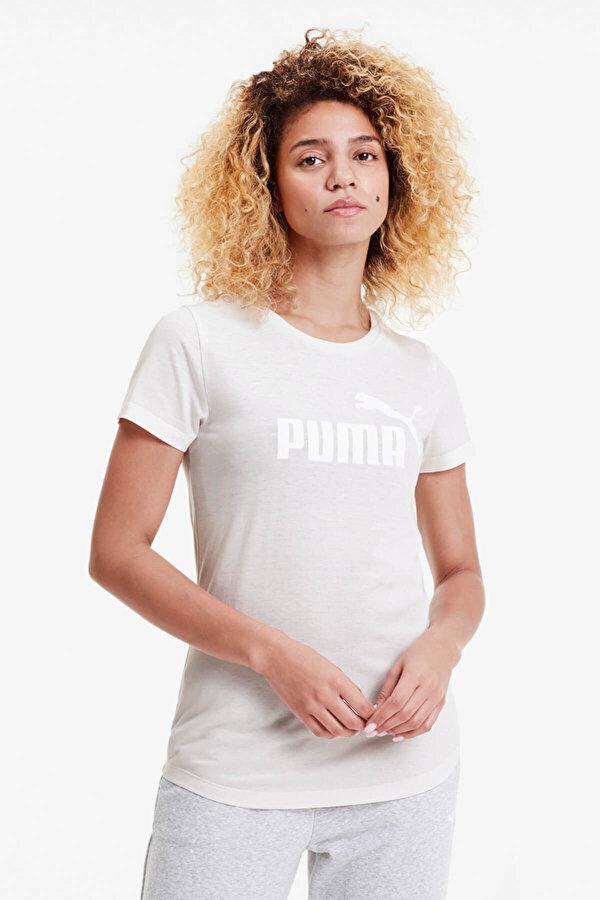 Puma ESS+ LOGO HEATHER TEE Pudra Kadın Kısa Kol T-Shirt