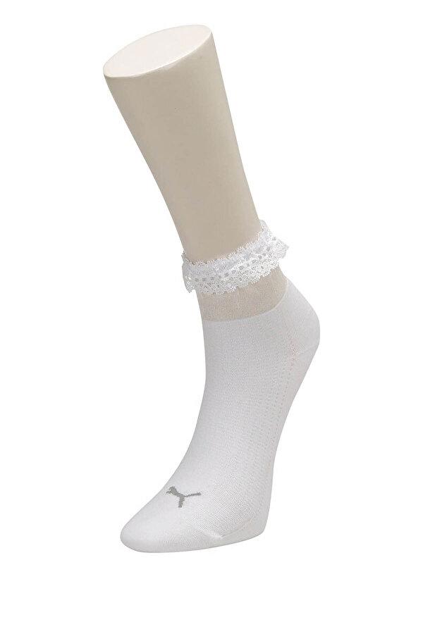 Puma SG RUFFLE SHORT SOCK 1P Beyaz Kadın Çorap