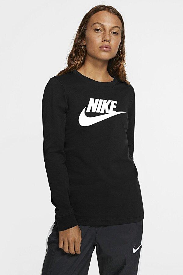 Nike W NSW TEE ESSNTL LS ICON Siyah Kadın T-Shirt