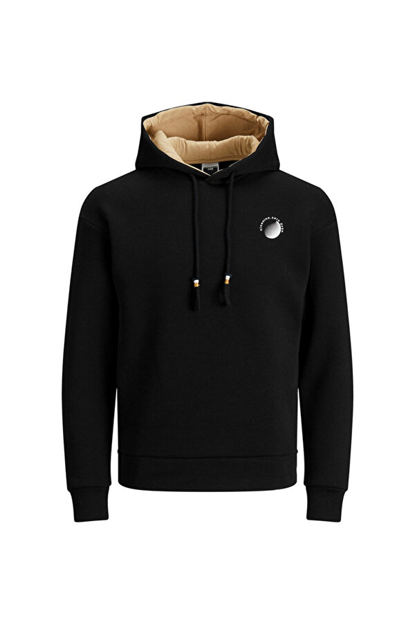Jack Jones Jack & Jones JCOPOUL SWEAT HOOD Siyah Erkek Sweatshirt