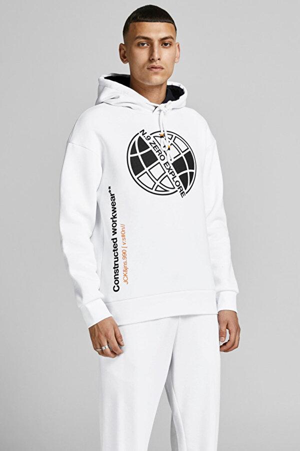 Jack Jones Jack & Jones JCOPOUL SWEAT HOOD Beyaz Erkek Sweatshirt