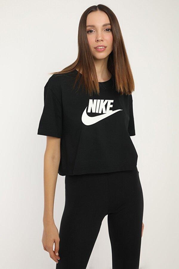 Nike W NSW TEE ESSNTL CRP ICN Siyah Kadın Kısa Kol T-Shirt