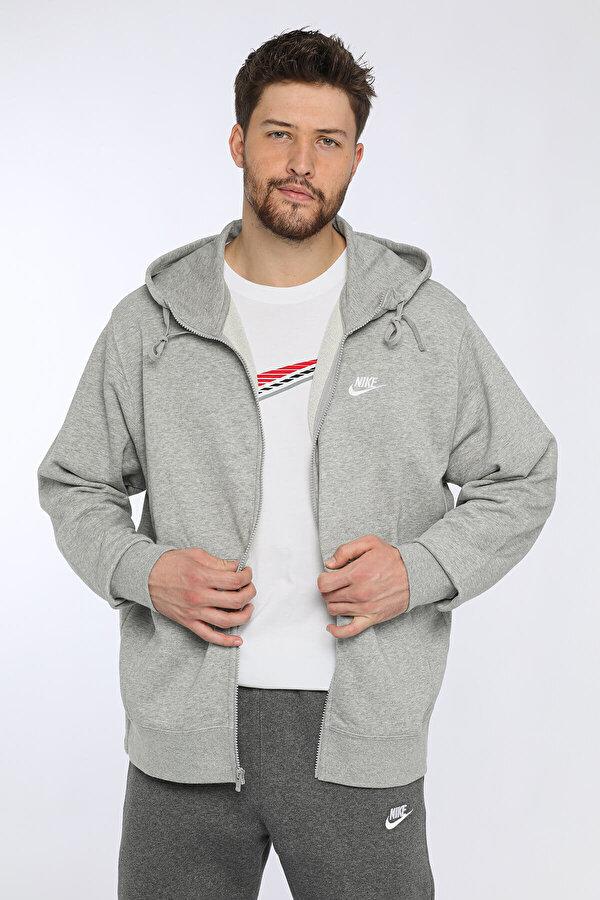 Nike M NSW CLUB HOODIE FZ FT Gri Erkek Sweatshirt