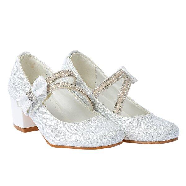 Kiko Kids Kiko 750 Simli Günlük Kız Çocuk 4 Cm Topuk Babet Ayakkabı BEYAZ