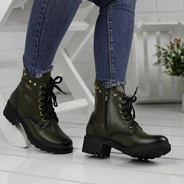 Ayakland 3883-851 Haki Günlük Fermuarlı Termo Bayan Cilt Bot Ayakkabı