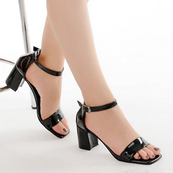 Ayakland 6470-05 Rugan 7 Cm Topuk Bayan Sandalet Ayakkabı SİYAH