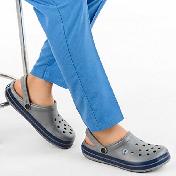 Ayakland Akn E195.M.000 Hastane Ortopedik Erkek Sandalet Terlik Gri Lacivert Gri