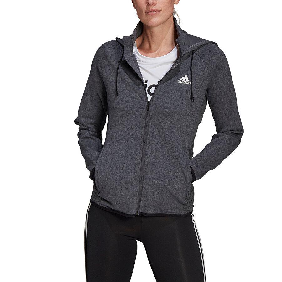 Adidas W MT FZ HD Gri Kadın Fermuarlı Sweatshirt