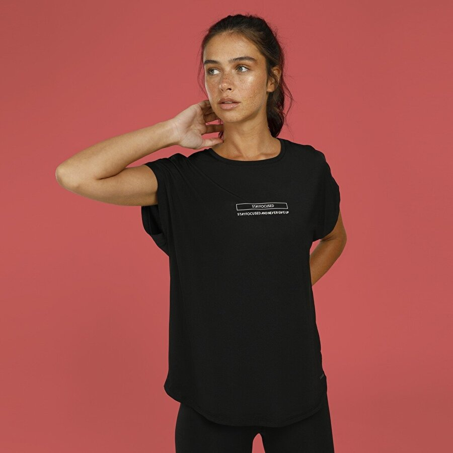 Lumberjack CT396 MILA MINIMAL T-SHIR Siyah Kadın T-Shirt