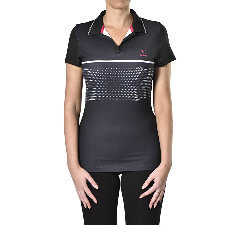 Kinetix A5132595 Siyah Kadın Kısa Kol T-Shirt
