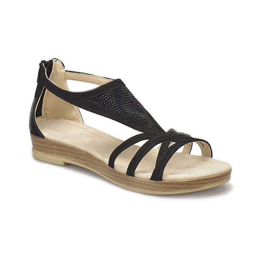 Miss F DS18087 Siyah Kadın Düz Sandalet