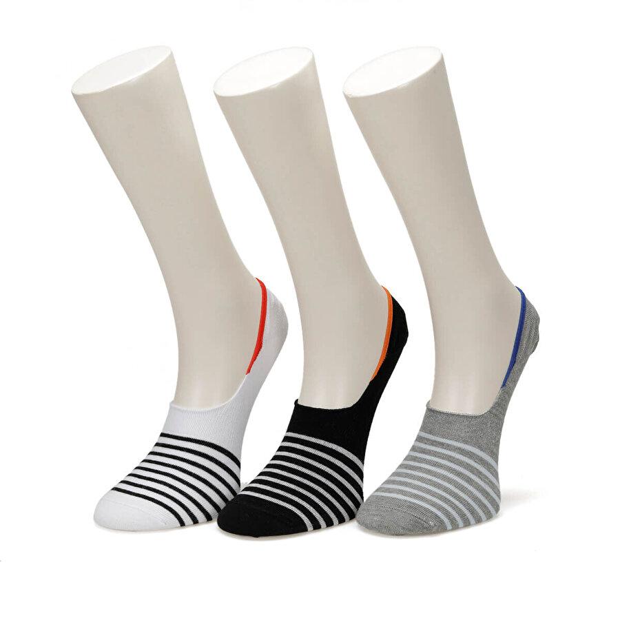 Garamond COLOR STRIPE 3 LU SUBA-M GRI MULTI Erkek Çorap