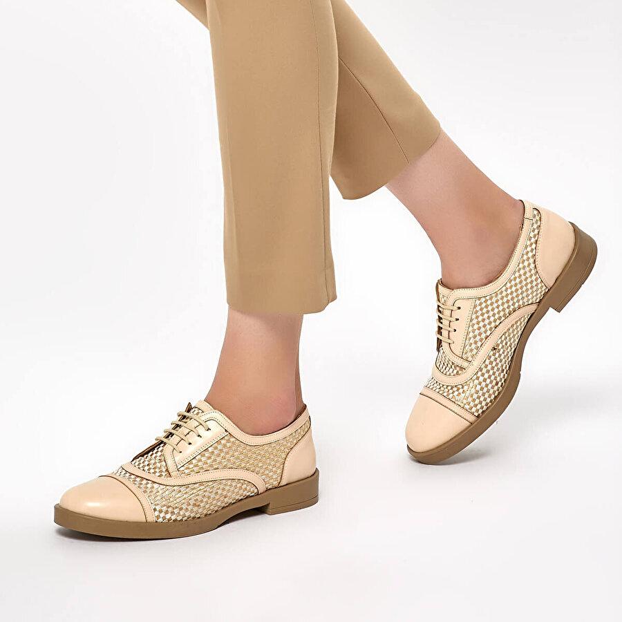 Miss F DS19040 Bej Kadın Oxford Ayakkabı