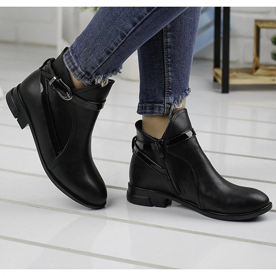 Ayakland 2320-835 Siyah Günlük Termo Fermuarlı Bayan Cilt Bot Ayakkabı