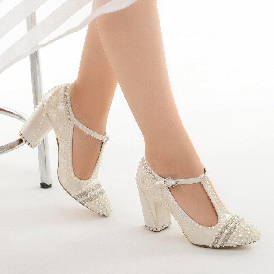 Ayakland Cmr G-04 Abiye 7 Cm Topuk Taşlı Bayan Gelin Ayakkabı Sedef